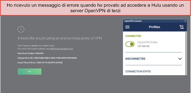 Schermata dell'errore di Hulu VPN, con l'app OpenVPN aperta accanto.
