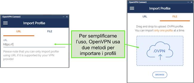 Screenshot dei due modi in cui puoi importare i profili del server nell'interfaccia utente di OpenVPN.
