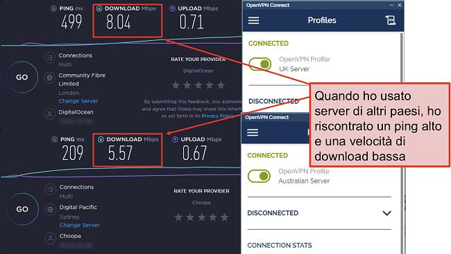 screenshot di due speedtest, uno con un server di Londra, un altro con un server di Sydney