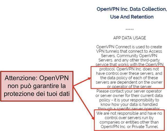 screenshot della politica sulla privacy di OpenVPN.