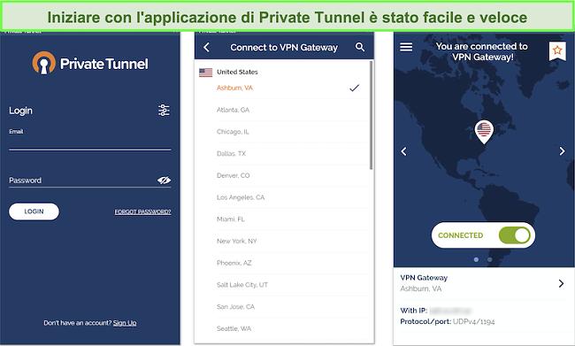 Screenshot dell'app Tunnel privato che mostra i criteri di raccolta, utilizzo e conservazione dei dati, incluso un popup che rivela che è in corso il monitoraggio di una connessione di rete.
