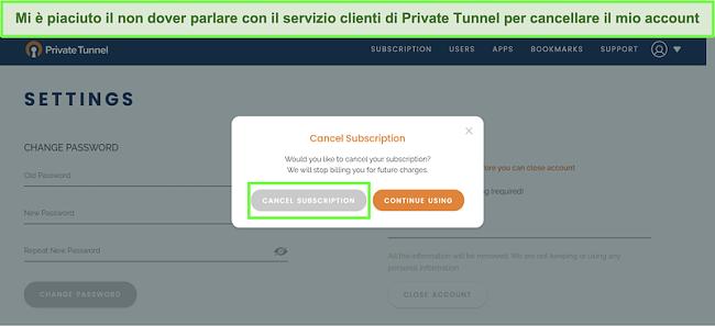 Screenshot del processo di cancellazione dell'abbonamento a Private Tunnel.