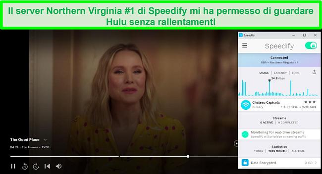Screenshot di Netflix che riproduce Unbreakable Kimmy Schmidt mentre Speedify è connesso a un server in spagnolo