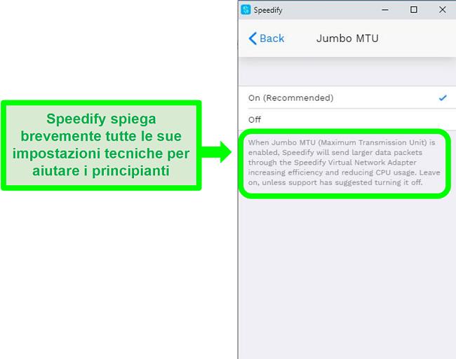 Screenshot di una spiegazione sotto una delle impostazioni di Speedify