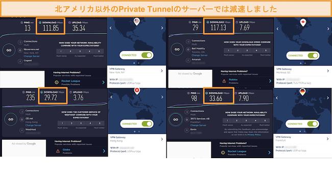 プライベートトンネル接続を介した4つの速度テストのスクリーンショット。