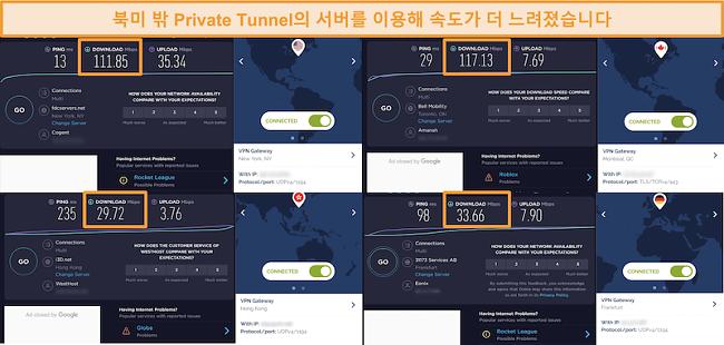 Private Tunnel 연결을 통한 4 가지 속도 테스트 스크린 샷.