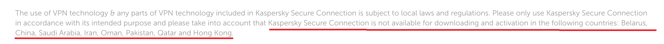 Kaspersky Secure Unsupported countires