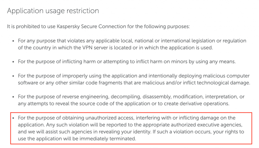 Kaspersky terms and conditions