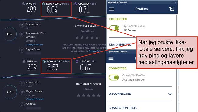 skjermbilde av to hastighetstester, en med en London-server, en annen med en Sydney-server