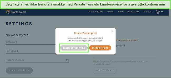 Skjermbilde av Private Tunnels abonnementsavbrytelsesprosess.