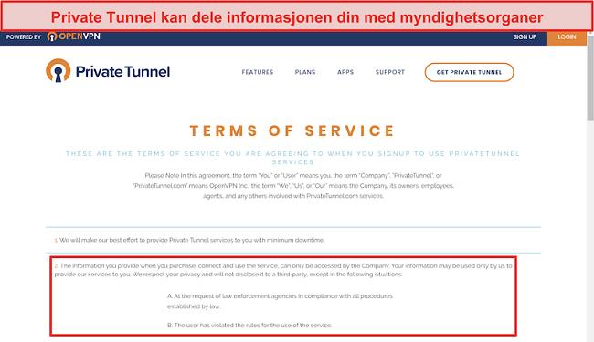 Skjermbilde av Private Tunnels vilkår for bruk
