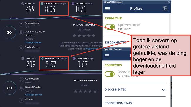 screenshot van twee speedtests, een met een server in Londen, een andere met een server in Sydney
