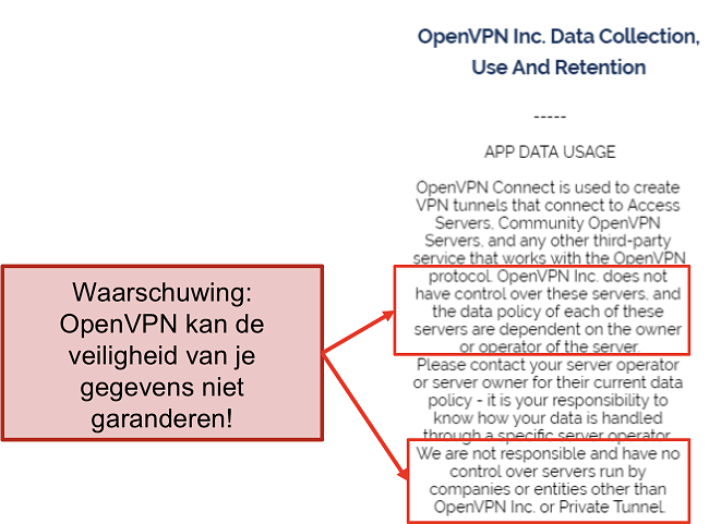 screenshot van het privacybeleid van OpenVPN.
