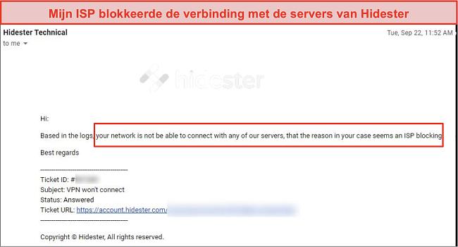 Skjermbilde av Hidester blokkert av ISP
