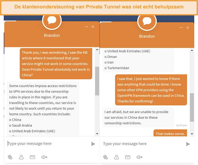Screenshot van de live chat-klantenservice van Private Tunnel over het al dan niet werken van hun service in China.