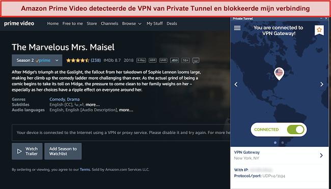 Schermafbeelding van Amazon Prime die privétunnel blokkeert