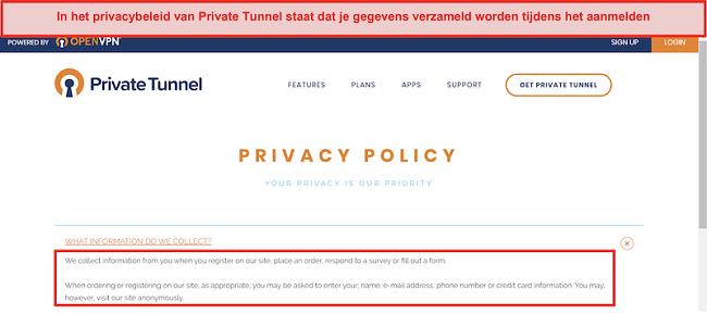 Screenshot van het privacybeleid van Private Tunnel