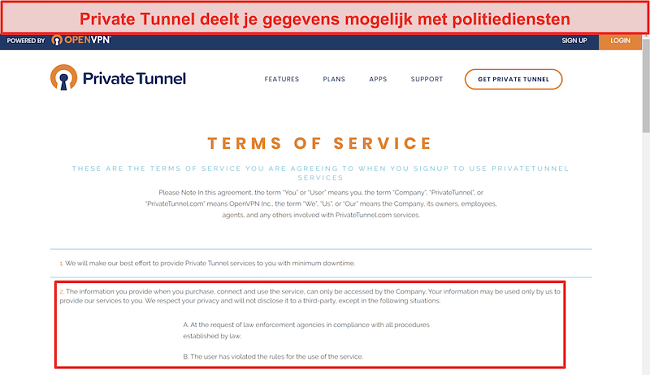 Screenshot van de Servicevoorwaarden van Private Tunnel