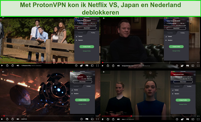 Screenshots van ProtonVPN met toegang tot Netflix in de VS, Japan en Nederland