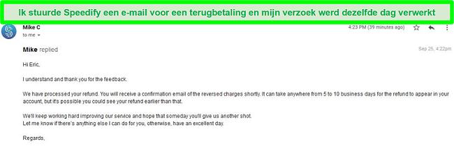 Screenshot van een e-mail van Speedify-ondersteuning die een terugbetalingsverzoek verwerkt