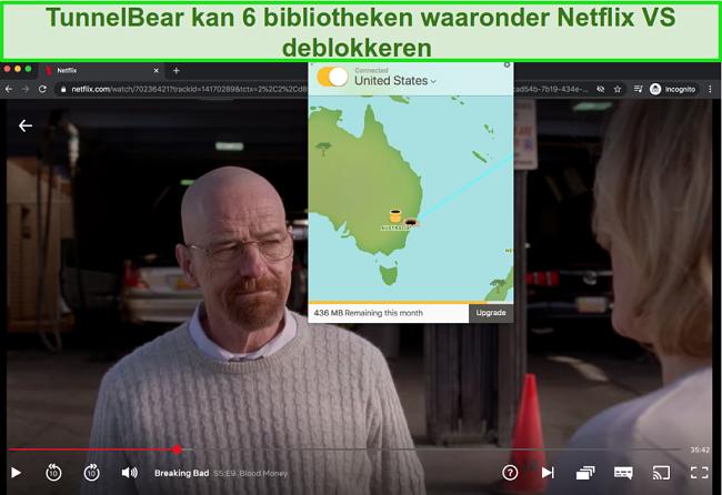 Screenshot van Tunnelbear streaming Breaking Bad op Netflix US