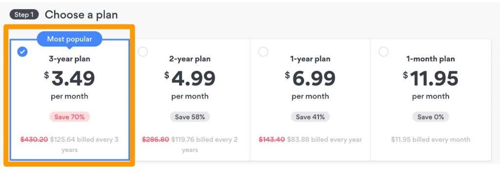 Screenshot of NordVPN's short-term and long-term plans