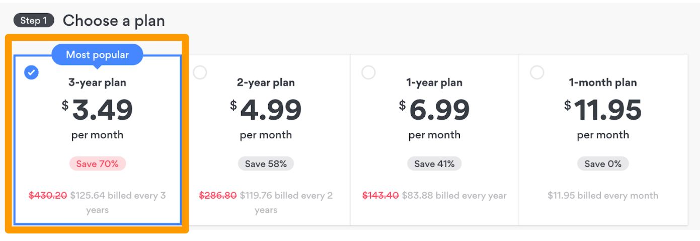 Screenshot of NordVPN's short-term and long-term plans