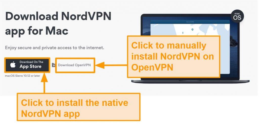 Screenshot of NordVPN's download page for App Store app or OpenVPN app