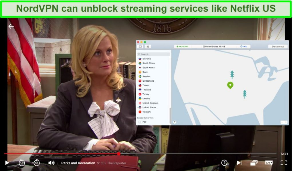Screenshot of Netflix US playing Parks and Recreation with NordVPN connected to a US server