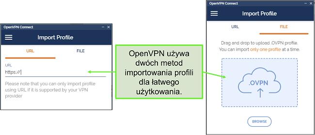 Zrzut ekranu przedstawiający dwa sposoby importowania profili serwerów do interfejsu użytkownika OpenVPN.