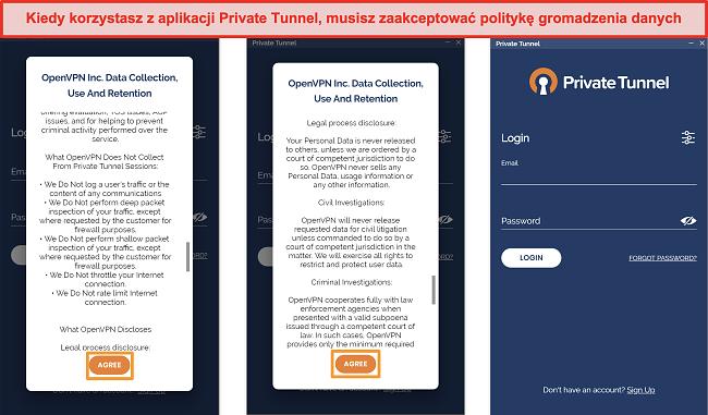 Zrzut ekranu aplikacji Private Tunnel zawierającej Zasady gromadzenia, wykorzystywania i przechowywania danych