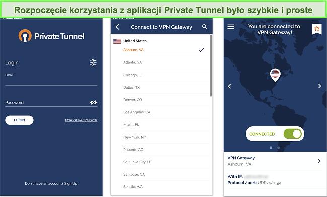 Zrzut ekranu konfiguracji aplikacji Private Tunnel na Androida.