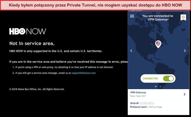 Zrzut ekranu przedstawiający HBO NOW blokujący połączenie z Private Tunnel