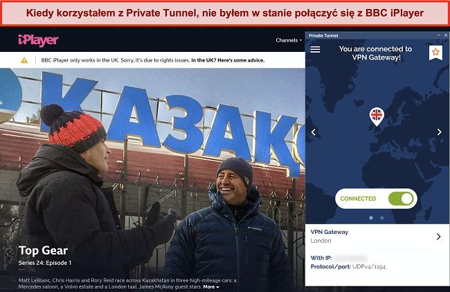 Zrzut ekranu przedstawiający BBC iPlayer blokujący prywatny tunel
