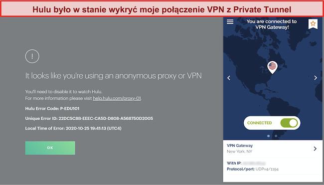 Zrzut ekranu przedstawiający Hulu blokującego połączenie Private Tunnel VPN