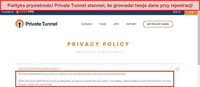 Zrzut ekranu z Polityką prywatności Private Tunnel