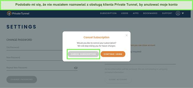 Zrzut ekranu przedstawiający proces anulowania subskrypcji Private Tunnel.
