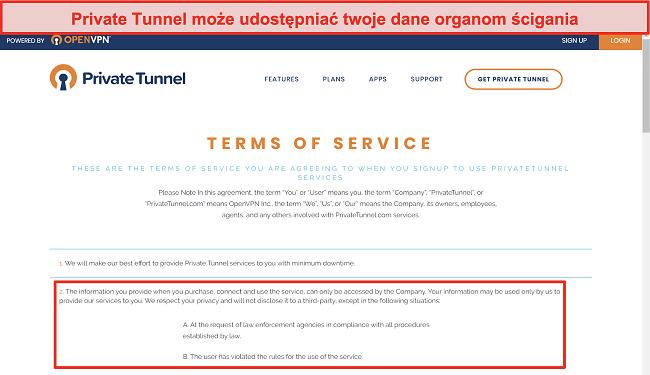 Zrzut ekranu z Warunkami korzystania z usługi Private Tunnel