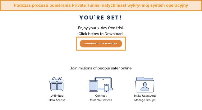 Zrzut ekranu ekranu pobierania Private Tunnel