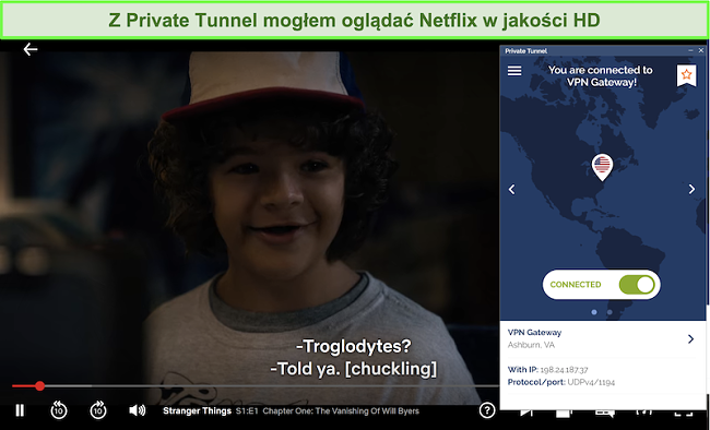 zrzut ekranu z Netflix odtwarzającym Stranger Things podczas połączenia z serwerem VA