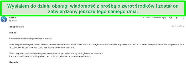 Zrzut ekranu wiadomości e-mail od zespołu pomocy Speedify przetwarzającej żądanie zwrotu pieniędzy