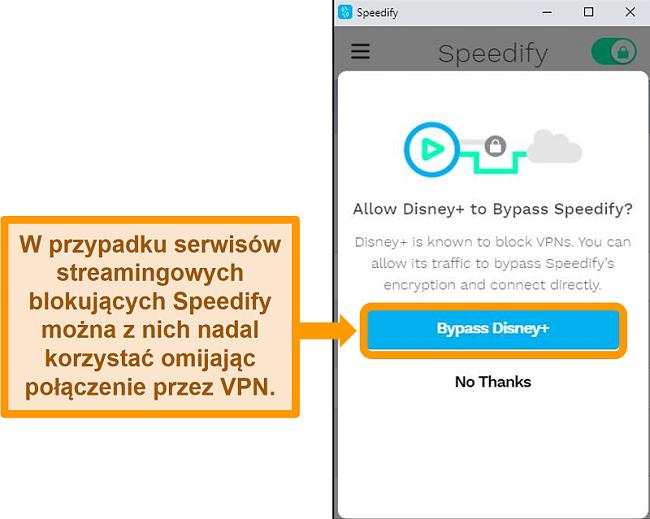 Zrzut ekranu interfejsu użytkownika Speedify pokazujący opcję obejścia dla Disney +