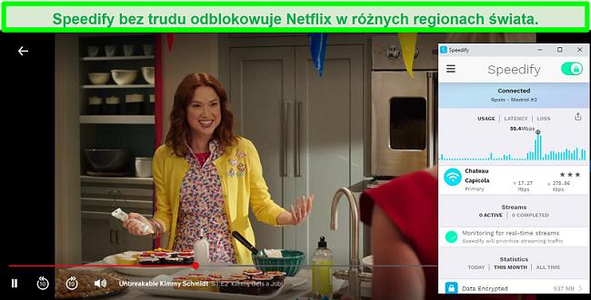 Zrzut ekranu przedstawiający Netflix grający w Unbreakable Kimmy Schmidt, gdy Speedify jest połączony z serwerem w języku hiszpańskim