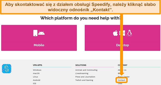 Zrzut ekranu strony pomocy technicznej w witrynie Speedify
