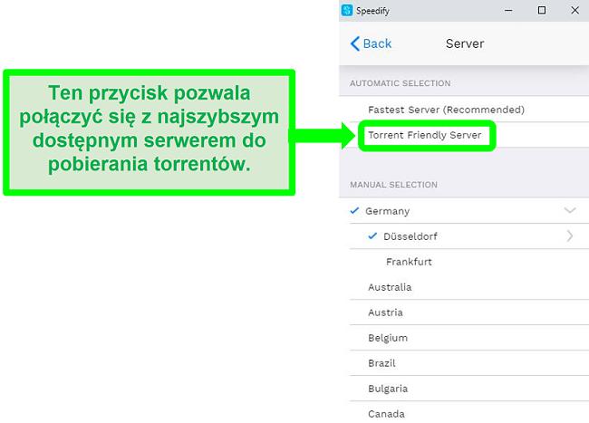 Zrzut ekranu menu wyboru serwera Speedify