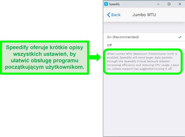 Zrzut ekranu z wyjaśnieniem pod jednym z ustawień Speedify