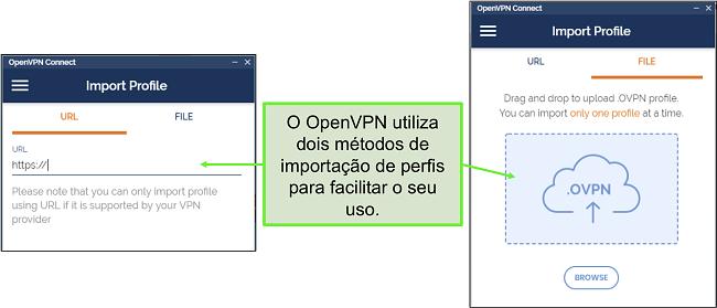 Captura de tela das duas maneiras de importar perfis de servidor para a IU do OpenVPN.