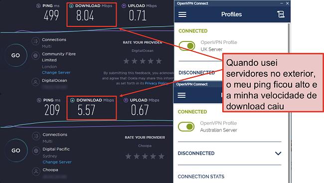 captura de tela de dois speedtests, um com um servidor em Londres e outro com um servidor em Sydney