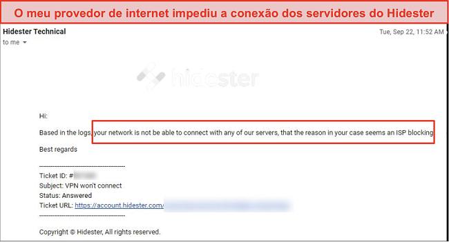 Captura de tela do Hidester bloqueado pelo ISP