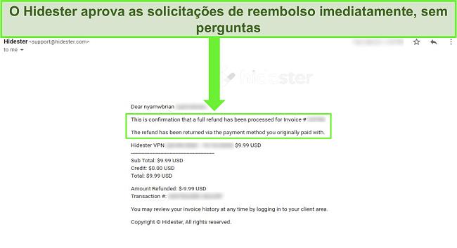 Captura de tela do suporte do Hidester aprovando reembolso